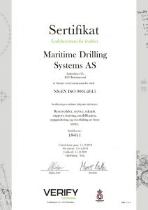 Maritime Drilling Systems ISO certificate